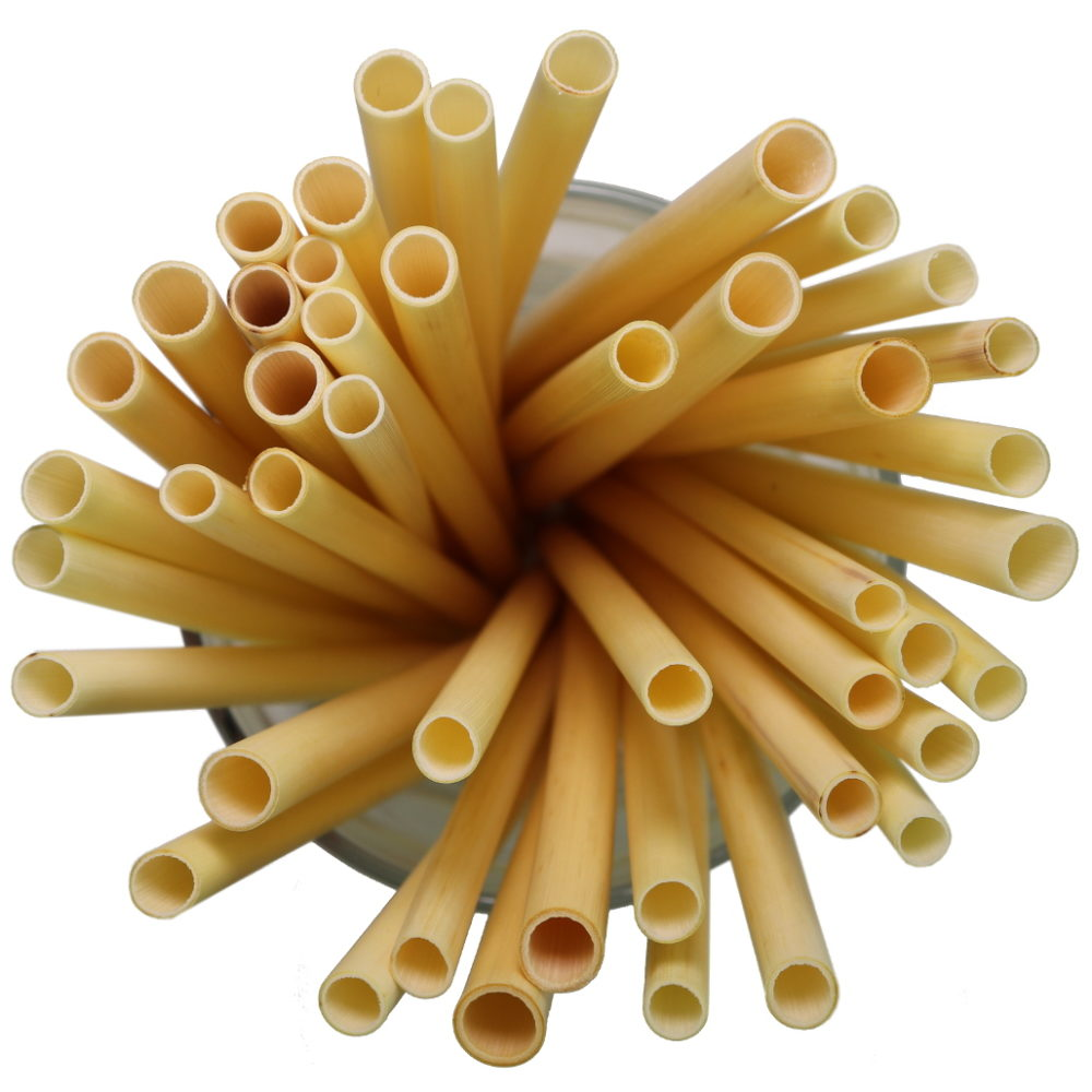 Thin reusable drinking straws from natural reed